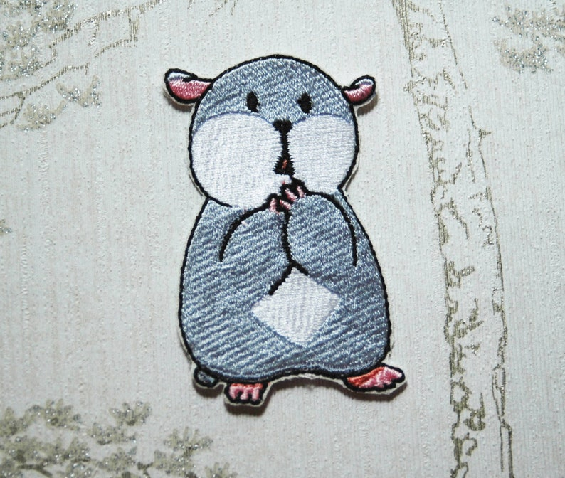Tam the Tiny Hamster Shocked face embroidered iron on patch. image 0
