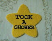 Gold star adulting embroidered iron on patch: Took a shower.
