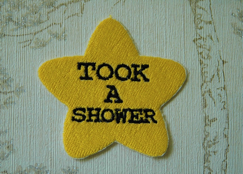 Gold star adulting embroidered iron on patch: Took a shower. image 0