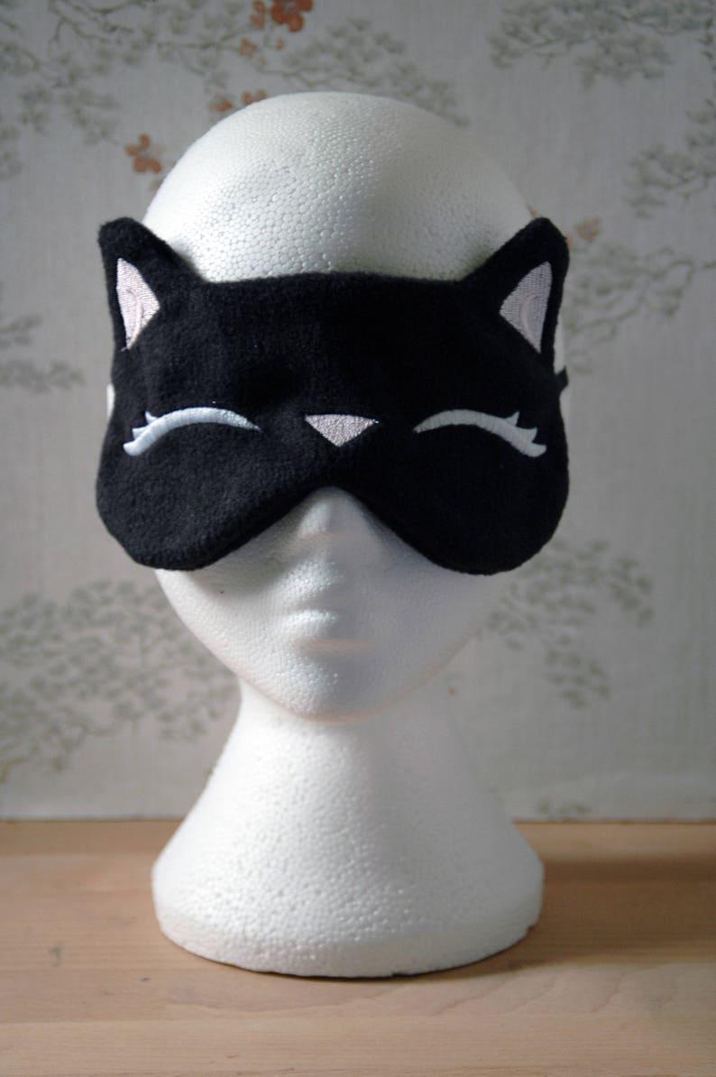 Sleepy black kitty eye mask image 1