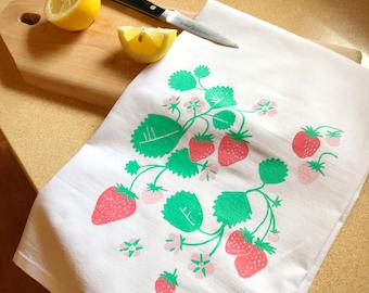 c416920774a3 strawberry tea towel _ Screen printed _ bar towel _ for mom