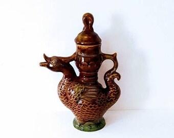 Vintage Duck Pitcher, Antique Faience, Goose figurine Country Decor, Ceramic Duck, Majolica  Pitcher, vintage 50s