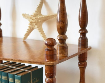 Vintage Bookcase Bohemian Etagere Antique Handmade Carved Wood Bookshelf