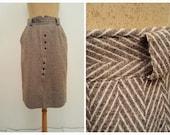 vintage 1960s Classic Wool skirt - Winter Tweed skirt, brown beige wool midi skirt,pencil skirt