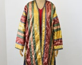 ikat kimono, embroidery coat Jacket, bohemian ethnic patchwork, kantha quilt, cotton, handcrafted, reversible, One of a kind
