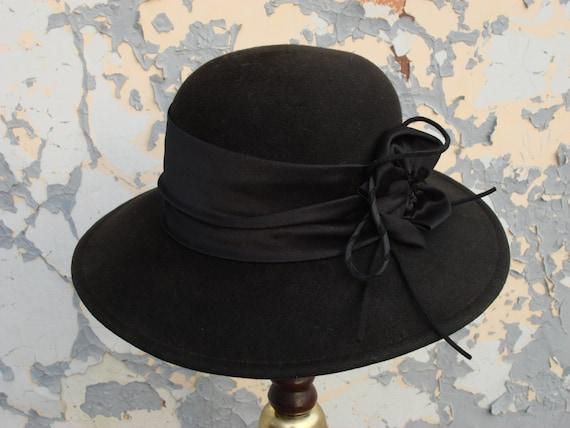 Vintage Fedora Hat, Wool Felt Hat, Lady black hat