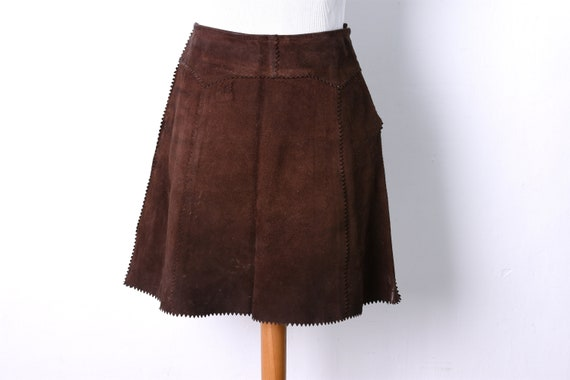 vintage 1960s1970s mini suede skirt -  hand sewn s