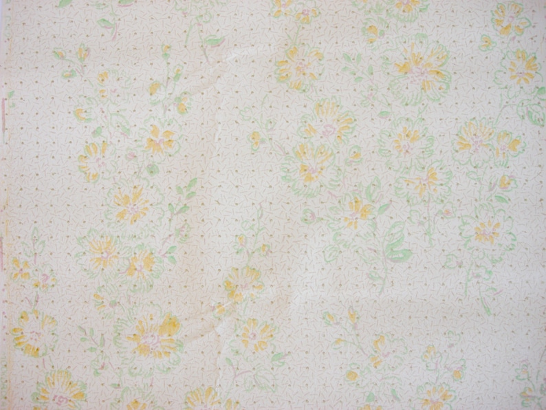 Vintage Wallpaper golden flowers, dots, dashes / Soviet vintage 70s, By the  Yard