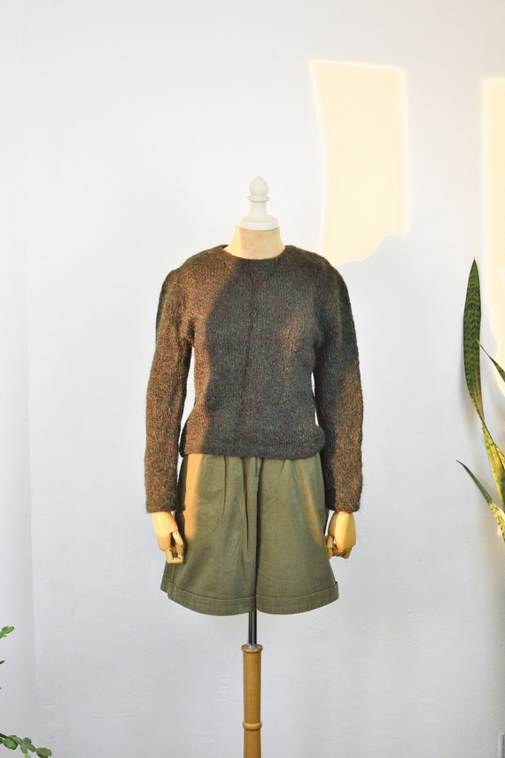 Vintage Mohair Army Green Sweater 70s hand-knitted