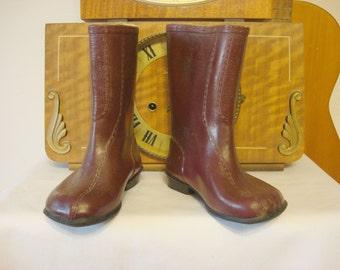 Vintage Rain Boots, Children kids Gumboots, galoshes, little boots,black brown rubber boots, Soviet 1970s