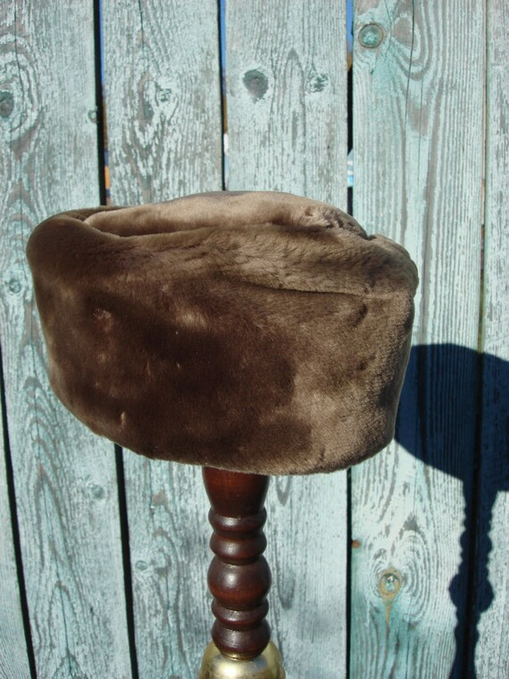 "Vintage Women artificial mink fur hat, Hat ""Pork P"