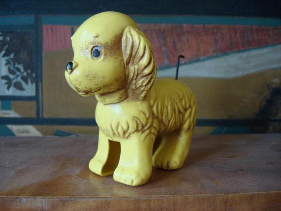 Vintage Wind Up Puppy Dog Toy by Clockwork, Soviet vintage, 1960s