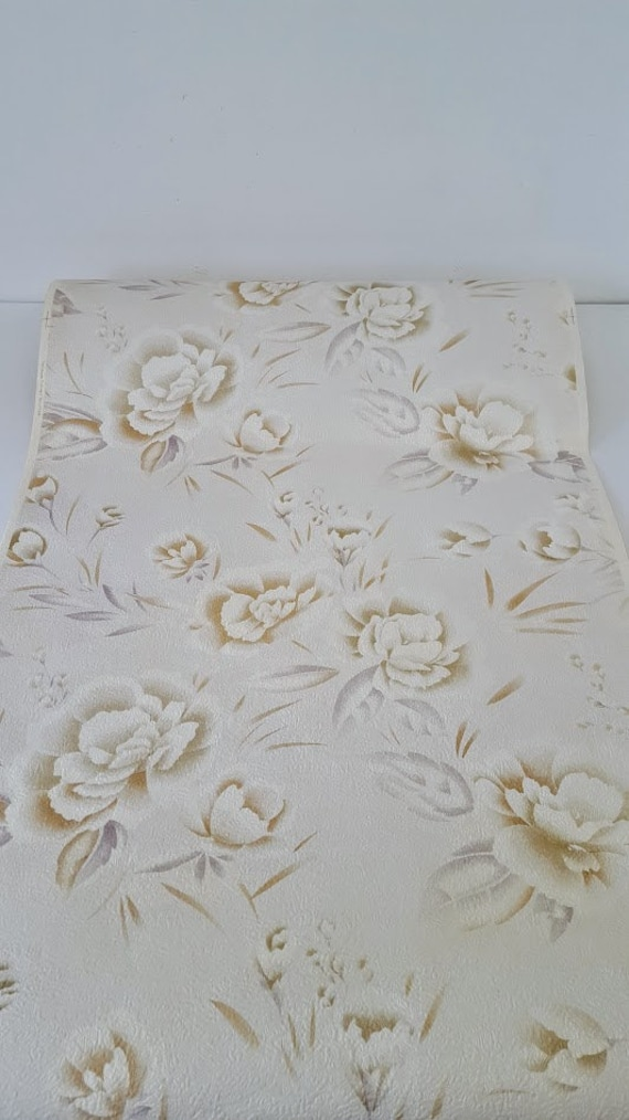 Vintage Wallpaper White Peonies Light Gray Textured Background Vintage 90s By The Yard