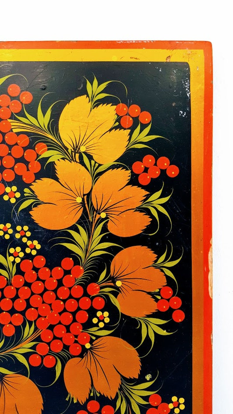Khokhloma Hand painted Top Table Wooden Side Table Top children/'s Table Home Decor country style vintage 60s Vintage Coffee Table