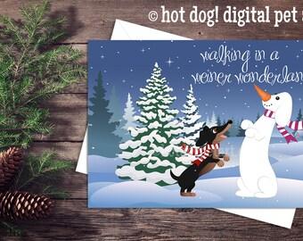 Set of 5 Dachshund Christmas Cards - Walking in a Weiner Wonderland