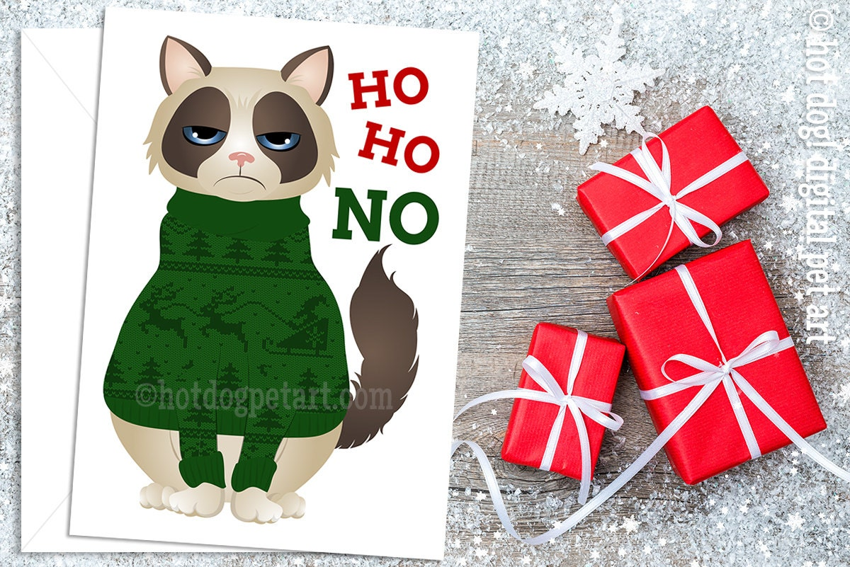 Set of 5 Grumpy Cat Christmas Cards Ugly Christmas Sweater | Etsy