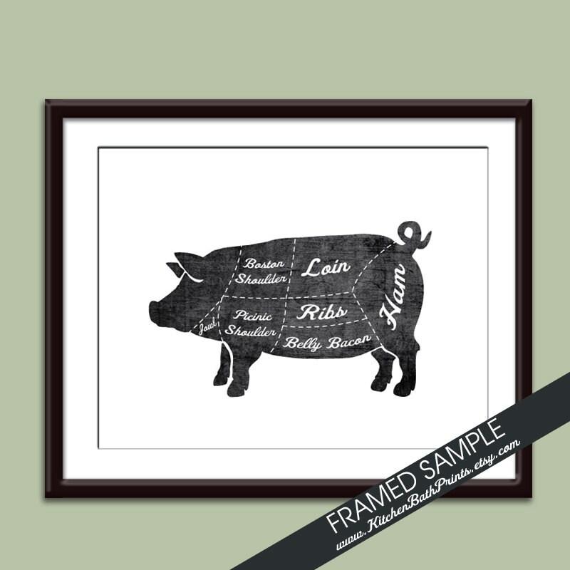 Pork Butcher Diagram Series Art Print Featured In Vintage Etsy