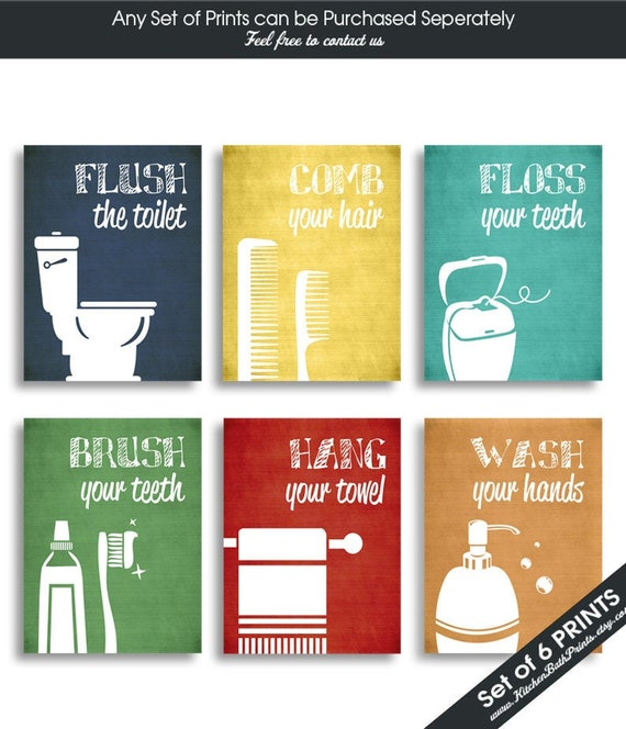 Funny Bathroom Prints Set Of 6 Art Print Featured In Etsy