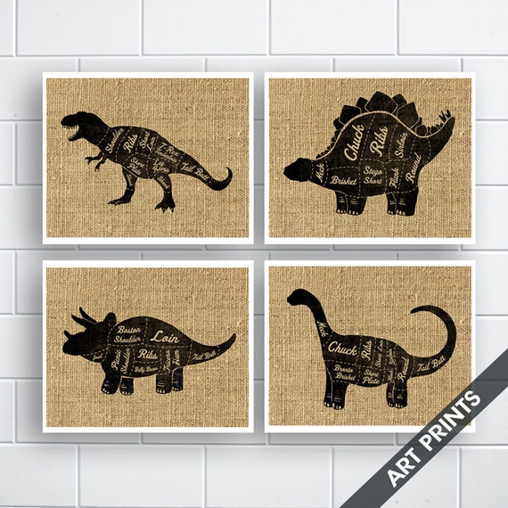 T Rex Stegosaurus Triceratops Brontosaurus Butcher Etsy