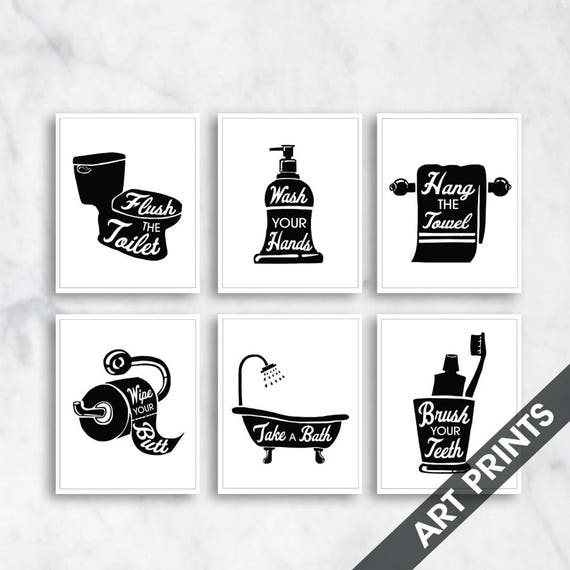 Bath rules set of 6 art print featured in black and
