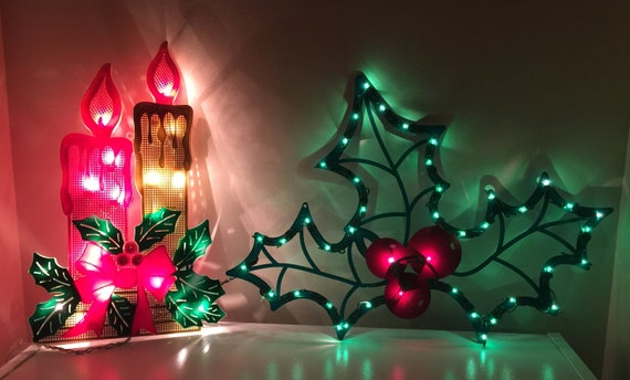 Vintage Christmas Lights.Vintage Christmas Light Up Candles Holly Silhouettes Window Or Wall Decor Holiday Seasonal Decoration Perfect Working Condition No Damage