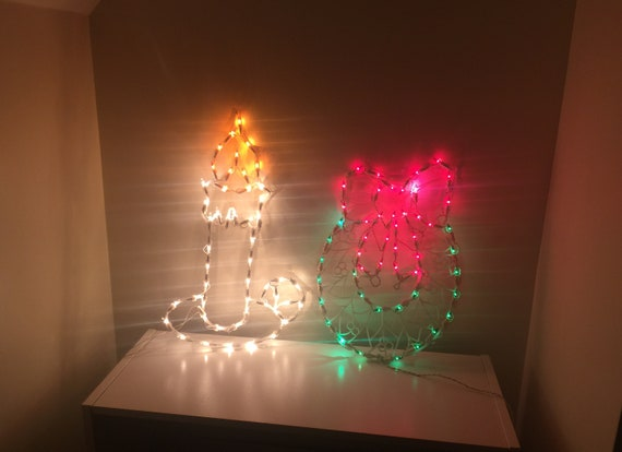 Vintage Christmas Light Up Candle Wreath Silhouettes Window Clings Or Wall Decor Holiday Seasonal Decor Perfect Working Condition No Damage