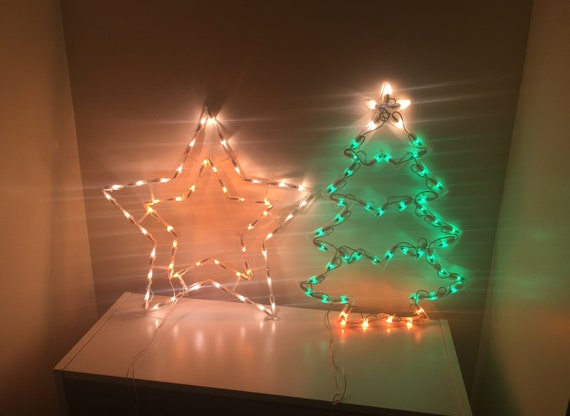 Vintage Christmas Light Up Star Xmas Tree Silhouettes Window Clings Or Wall Decor Holiday Seasonal Decor Perfect Working Condition No Damage