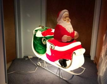"Vintage Christmas Santa & Sleigh TPI Comes w/ Light Cord No Damage Holiday Decorations Yard Lawn Seasonal Decor 36' X 33"""