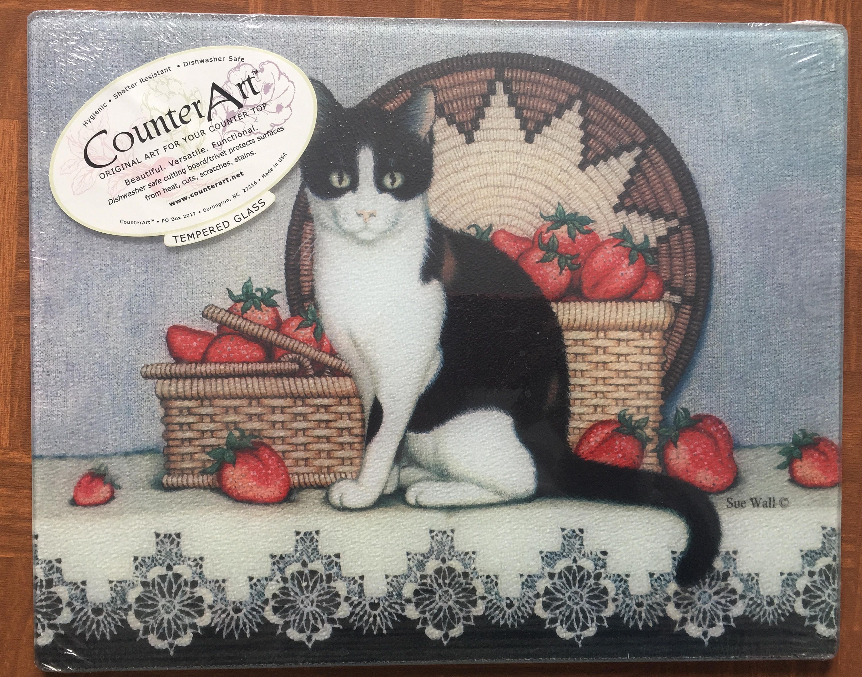 New Sealed Glass Cutting Board Black And White Cat With Basket Of Strawberries Very Nice