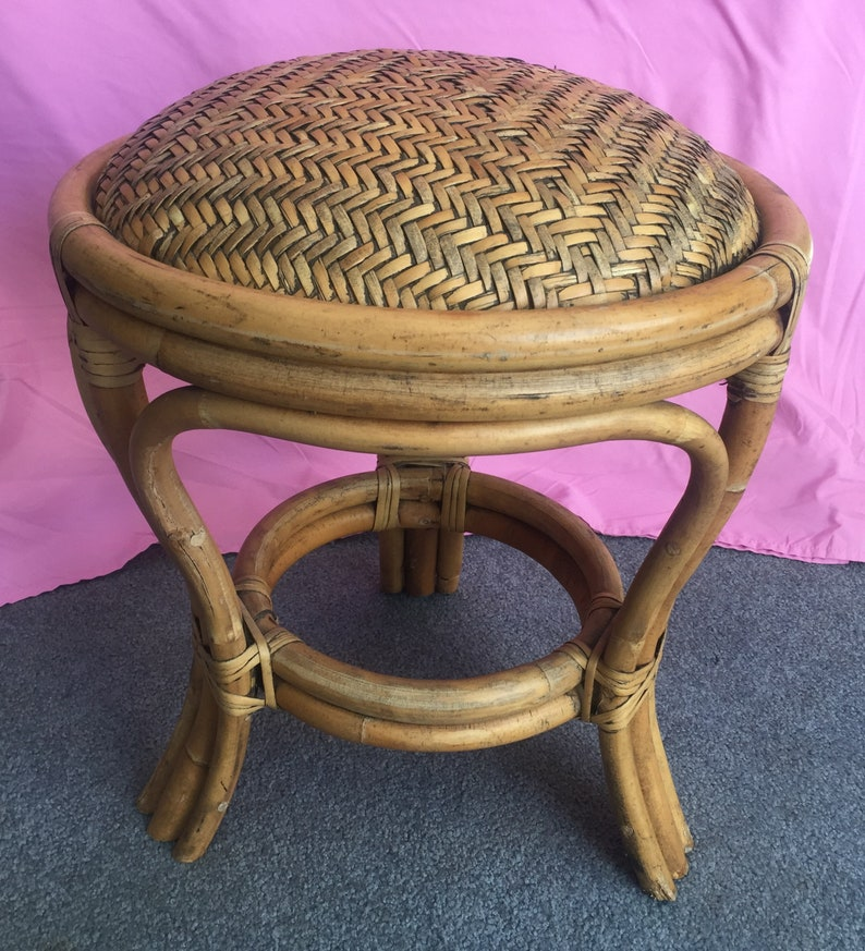 No Damage Really Nice Vintage 1960/'s Bamboo /& Rattan Foot Stool Ottoman Patio Porch Furniture Bentwood