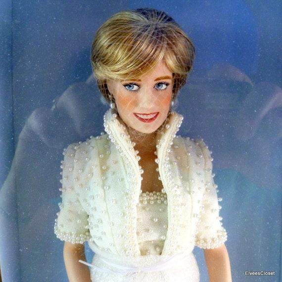 Franklin Mint Princess Diana Doll Female Porcelain Princess Of Wales W COA