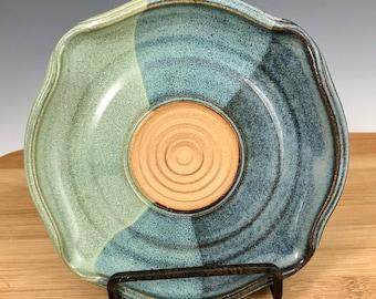 Blue and Jade Green Garlic Grater, Garlic Dish, Oil Dipping Dish, Appetizer