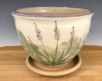 Lavender Flower Berry Bowl and Saucer, Colander, Stoneware, Floral