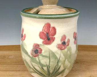 Sugar Jar, Honey Jar, Sugar Pot, Honey Pot, Kitchen Jar, Ceramic Surgar Jar, Storage Jar, Poppies, Flowers