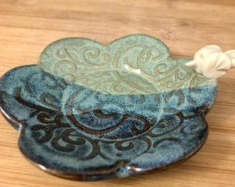 Bird Trinket Dish, Trinket Holder, Tea Bag Holder, Blue and Jade Green, Pottery