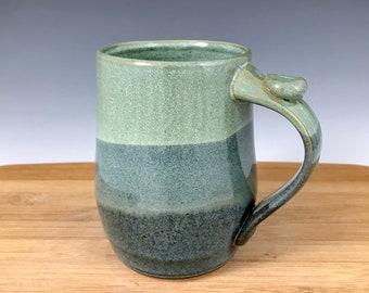 Jade Green and Blue Mug, Pottery
