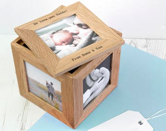 Personalised Oak Photo Cube Keepsake Box - Wedding Gift- Father's Day - Christening Gift - Romantic Gift - Housewarming -FREE UK DELIVERY!