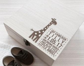 Personalised Baby Giraffe Keepsake Box - Wooden Keepsake Box - New Baby Gift - Laser Engraved - Made to Order - FREE UK DELIVERY!