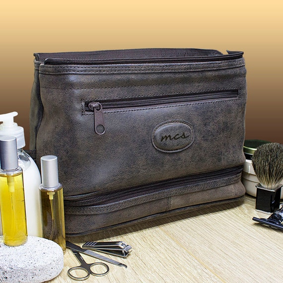 ad25633b3f Men s Personalised Expandable Suede Textured Wash Bag