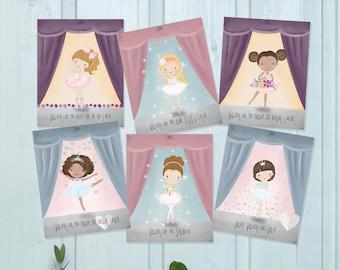 Ballerina Valentine Cards-DIY Printable-Holiday Card-INSTANT DOWNLOAD-Holidays-Valentine