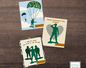 Little Green Military Men-Army-Valentine Cards-DIY Printable-Holiday Card-INSTANT DOWNLOAD-Holidays-Valentine