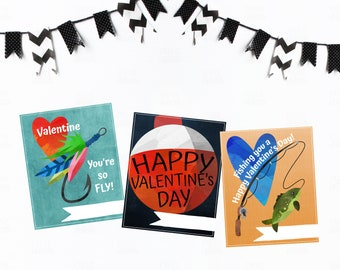 Fishing You a Happy Valentine-Valentine Cards-DIY Printable-Holiday Card-INSTANT DOWNLOAD-Holidays-Valentine