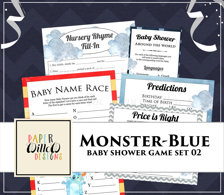 Monster Blue Baby Shower Game Set 02 Printable Nursery Rhyme