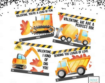 Construction Valentine-Valentine Cards-DIY Printable-Holiday Card-INSTANT DOWNLOAD-Holidays-Valentine
