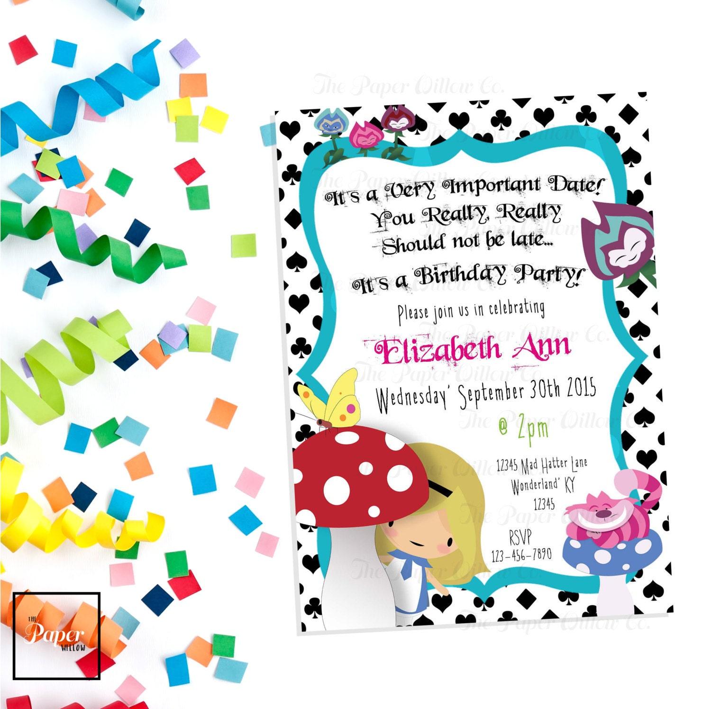 Alice in Wonderland BIRTHDAY-Printable Invitation-INSTANT | Etsy