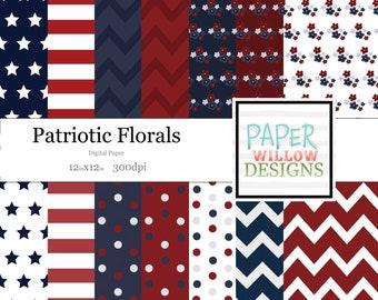 Patriotic Florals-Stripes & Dots-(14)-12x12 Digital Papers-300dpi-Polka Dot-Chevron-Florals-Stars