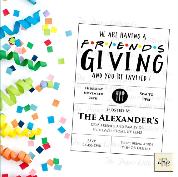 friends giving printable invitation thanksgiving holiday party