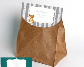 Woodland Fox-Party Favor Bag Tops-INSTANT DOWNLOAD-Party-Party Supplies-Birthday-Birthday Party-Baby Shower- Decor-Favors