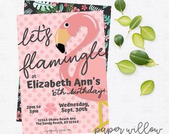 Let's Flamingle, Birthday, Party Invitation, Printable, Flamingo Party Invite, Beach theme