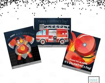 Fire Station Valentine-Valentine Cards-DIY Printable-Holiday Card-INSTANT DOWNLOAD-Holidays-Valentine
